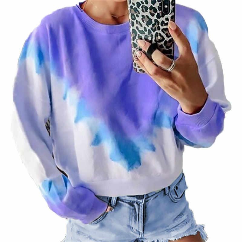 Taniafa 2019 новые модные женские повседневные топы Осень-зима граффити градиент печати длинный рукав с капюшоном пуловеры