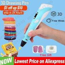 3d caneta para crianças 3d desenho impressão caneta com tela lcd compatível pla filamento brinquedos para crianças presente de aniversário natal