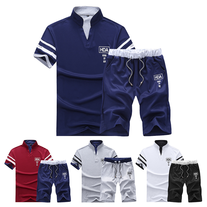 Summer Set Men Casual Fitness Tracksuit 2019 Men's Sportswear 2 Pieces T-shirts+Shorts Sets Stand Collar Male Solid Sportsuits