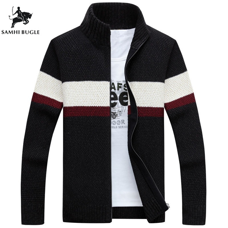 Cardigan Mens Sweaters For 2019 Brand Clothing Cotton Stand Collar Autumn Winter Pattern Striped Sweater Men XXXL