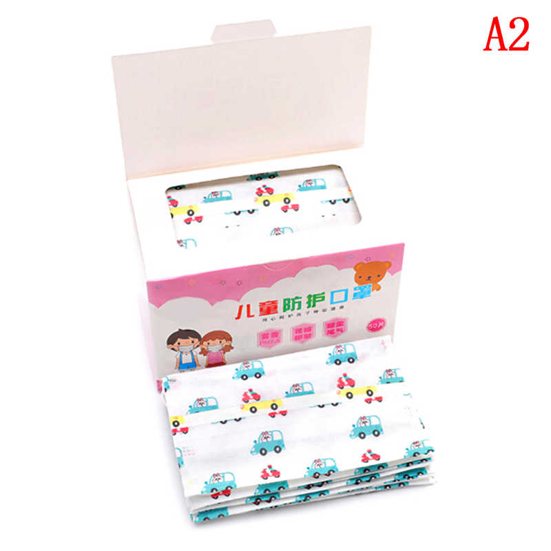 50Pcs การ์ตูนหน้ากากเด็กเด็ก Disposable ป้องกันฝุ่น Mouth หน้ากาก Non-Woven Medical Earloop หน้ากากฝาครอบ 3 ชั้น