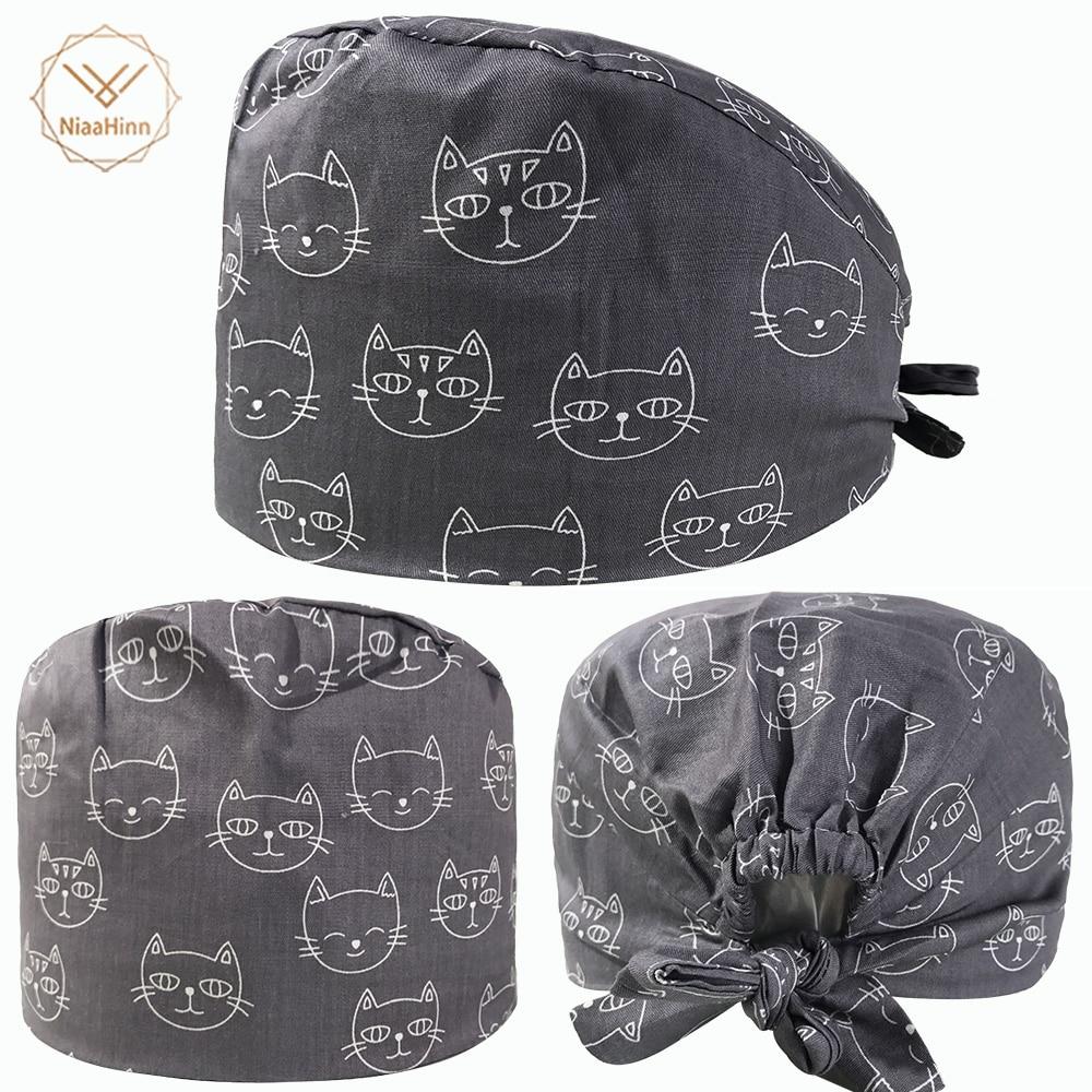 New Cotton Breathable Cat Print Adjustable Pet Hospital Work Hats Surgical Caps Women Men Doctor Nurse Caps Beauty Pharmacy Hats