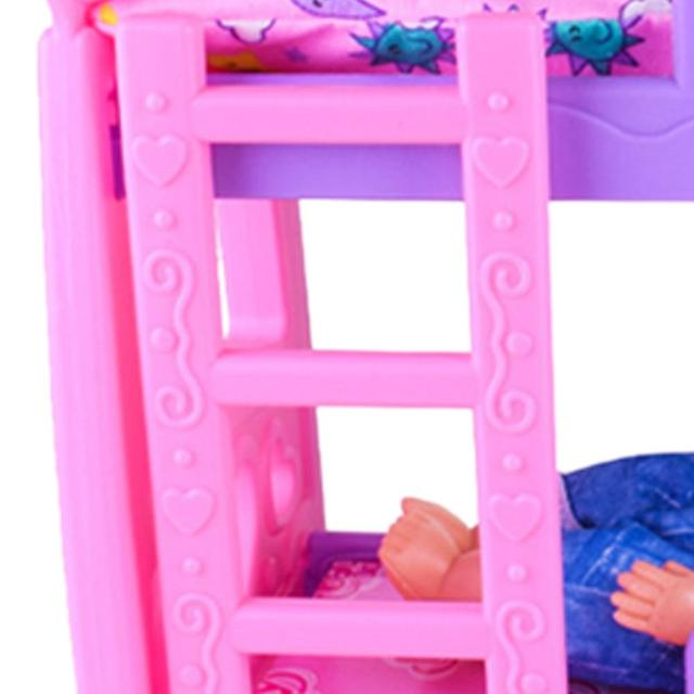 DIY Girls Toys Play House Pretend Play Furniture Toy Baby Doll Accessories Simulation Bunk Bed For Dolls Shaking Trojan Juguetes 5