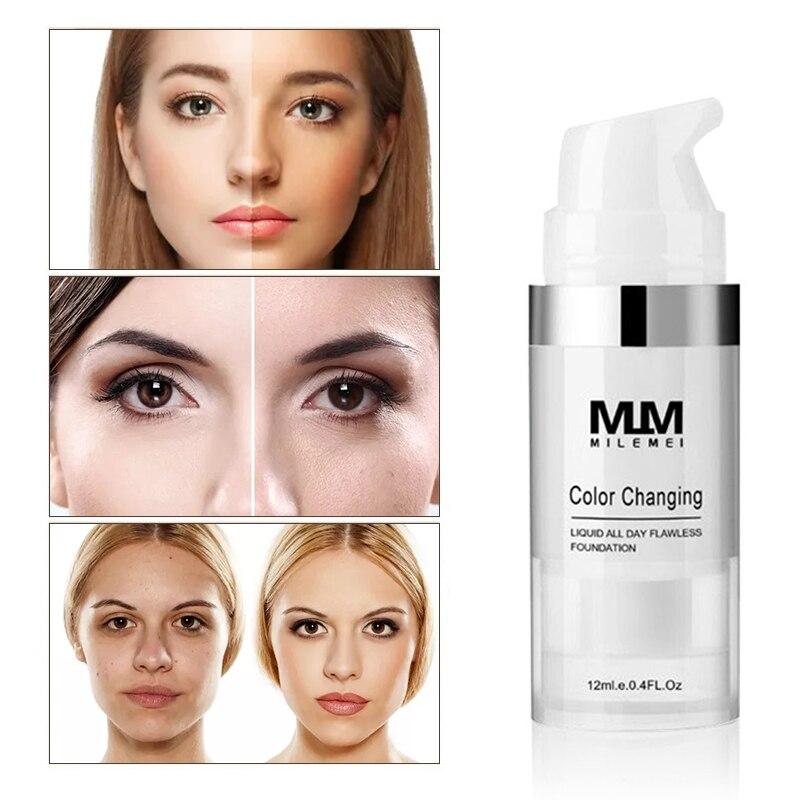 12ml Bright White Liquid Face Makeup Cosmetics Mini Temperature Color Changing Oil Control Lasting Concealer Foundation