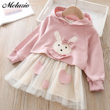 Melario Girls Spring Autumn Long Sleeve Sweaters Dress Children's Hoodie Shape Girls Clothes Pleated Dresses Cute Hats Clothes(China)