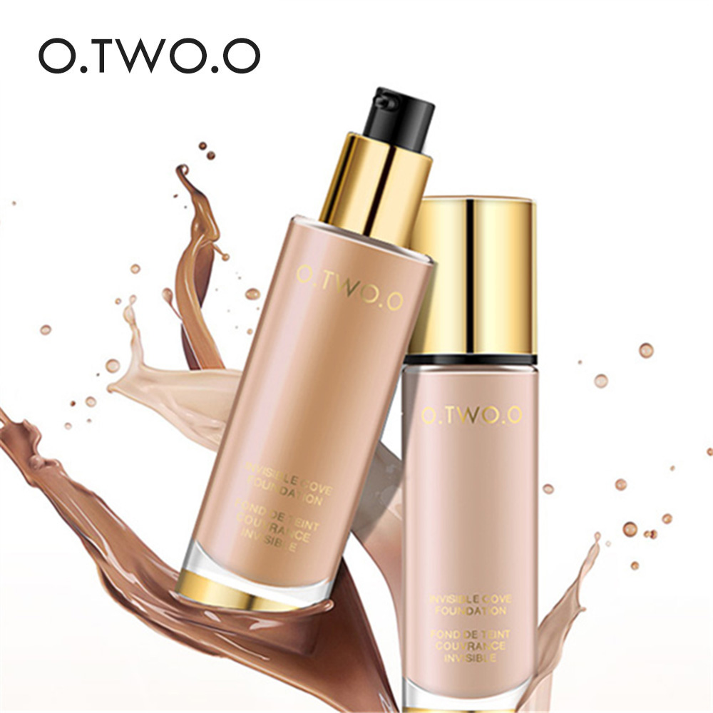 O.TWO.O Líquido Fundação Invisível Cobertura Completa Maquiagem Corretivo Clareamento Hidratante Fundação Maquiagem À Prova D' Água 30 ml