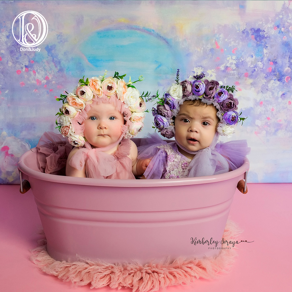 Don&Judy Newborn Photography Props Baby Girls Floral Hat Simulation Flower Bonnet Fotografia Studio Shoot Photo Props