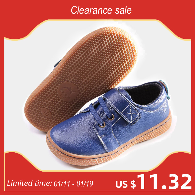 Genuine Leather kids shoes Autumn children casual boys shoes girls leather shoes boys sneakers coffee brown shoes size 25-30