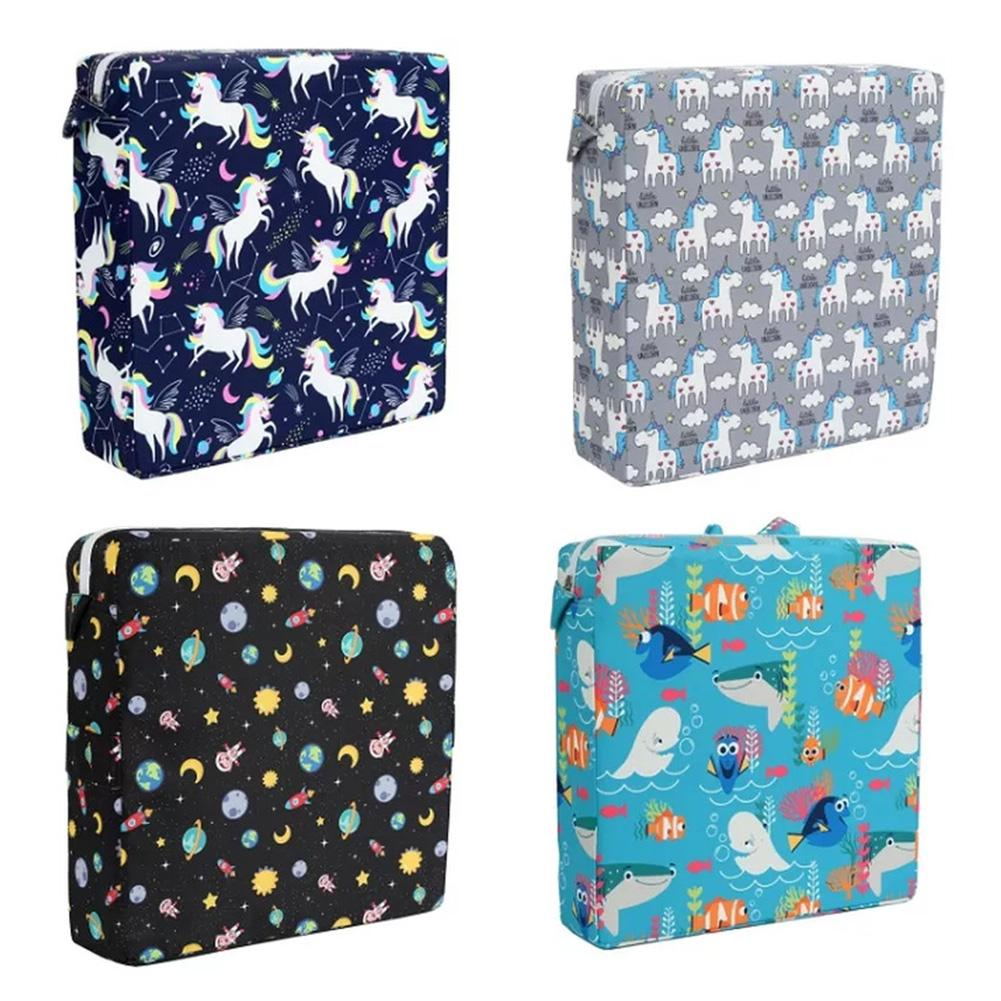 Kids Hihh Chair Booster Seat Cushion Portable Cartoon Print Chair Cushion For Dining Polyester And Sponge Filling Material