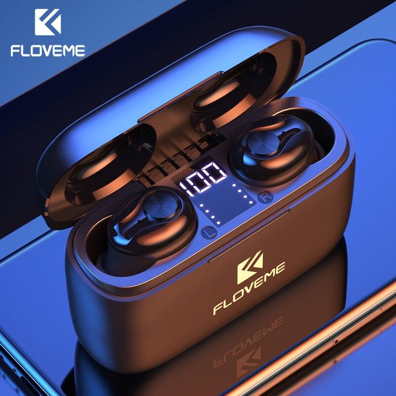 FLOVEME TWS Bluetooth V5.0 Earphone LED Display Wireless Headphones Stereo Sound Sport Earbuds Headset 1200 MAh Charging Box