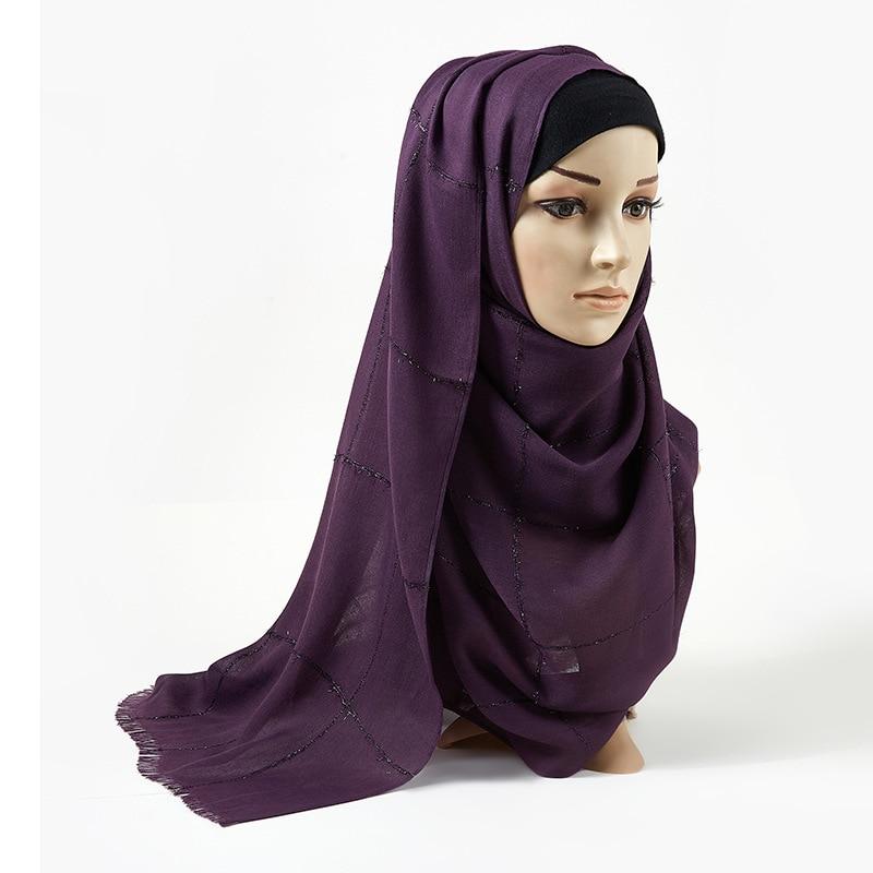 2020 Spring Cotton Plaid Scarf Female Fringed Shawls And Wraps Muslim Gold Shimmer Scarf Hijab Islamic Headscarf Foulard Femme
