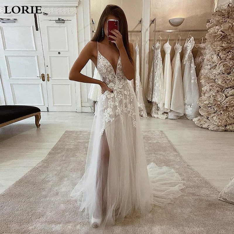 LORIE Boho Wedding Dress A Line Lace Spaghetti Strap Bride Dress 2020 Side Split Long Beach Wedding Gown For Women