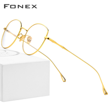 FONEX Pure B Titanium Glasses Frame Women Ultralight Prescription Eyeglasses Men Cat Eye Spectacles Myopia Optical Frame 868
