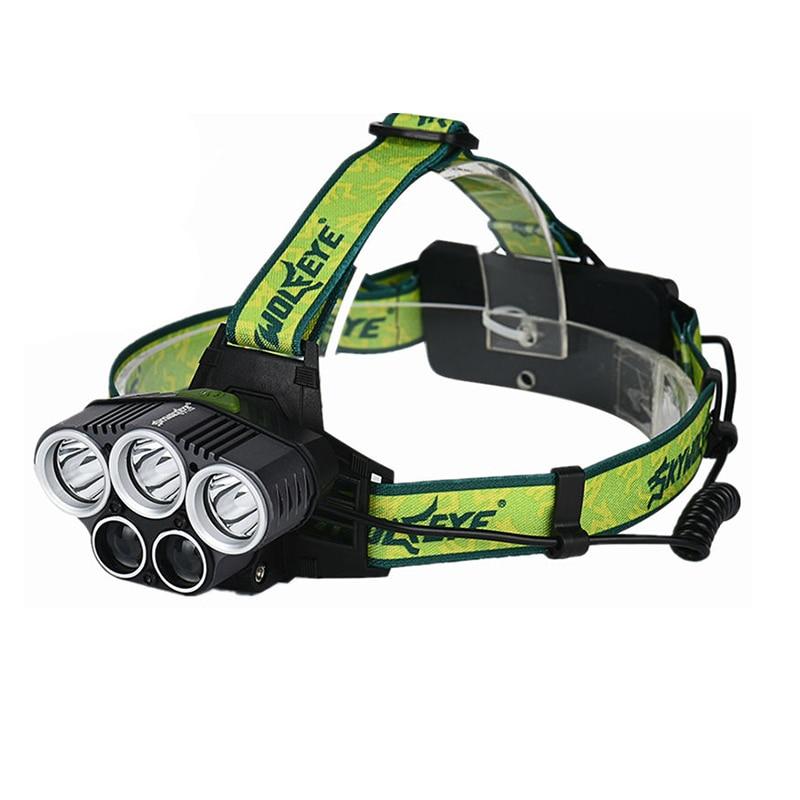 HHO-SKYWOLFEYE 5X XML T6 Headlamps 20000 Lumens 4 Mode LED Headlight USB Power Rechargeable Hunting Head Light + 2 X 18650 Batte