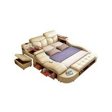 Настоящая Натуральная кожа, массажная мягкая кровать, мебель для дома, спальни, camas, горит muebles de dormitorio yatak, mobillya quarto bett