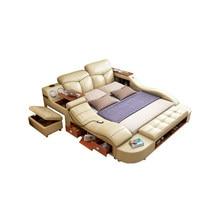 Echte Echtem leder bett rahmen massage Weichen Bett Hause Schlafzimmer Möbel camas lit muebles de dormitorio yatak mobilya quarto bett
