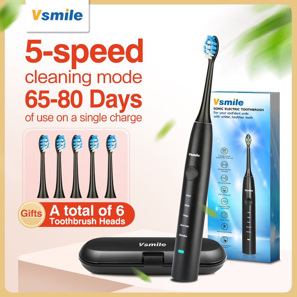 Vsmile Sonic Electric Toothbrush 2200mAh Battery 80 Days On One Charge 5 Modes 6 Brush Heads Waterproof Toothbrush Travel Case