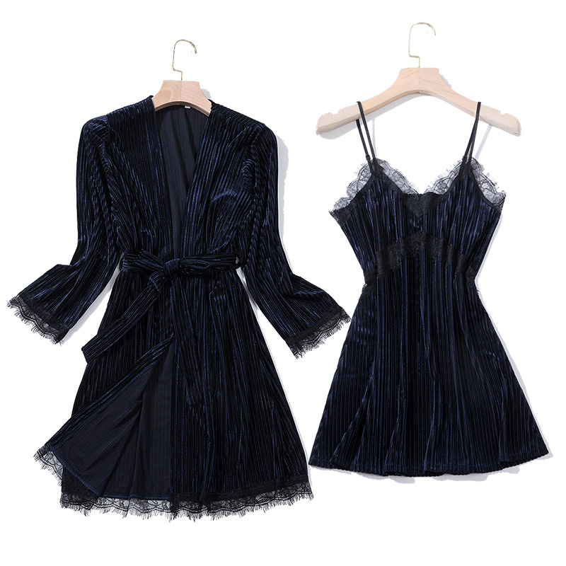 Winter Velour Night Robe Sexy Women 2PC Strap Top Suit Sleepwear Sets Casual Pajamas Home Wear Nightwear Sleep Kimono Bath Gown