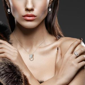 Image 5 - SANTUZZA Silver Jewelry Set For Women Pure 925 Sterling Silver Trendy Panther Ring Earrings Pendant Set White CZ Fashion Jewelry