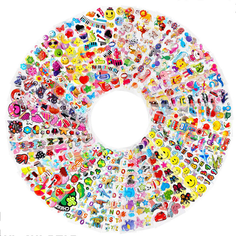 30 Sheets Stickers for Kids Girls Boys Different Bulk Stickers 3D Puffy Assorted Scrapbook 20 Stickers Cartoon Princess DIY Toys 2