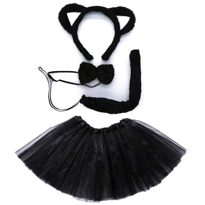 Kids Children Party Props Girl Fox Cat Cosplay Headband Tutu Skirt Tie Tail Set Costume Halloween Carnival Birthday Party Gift
