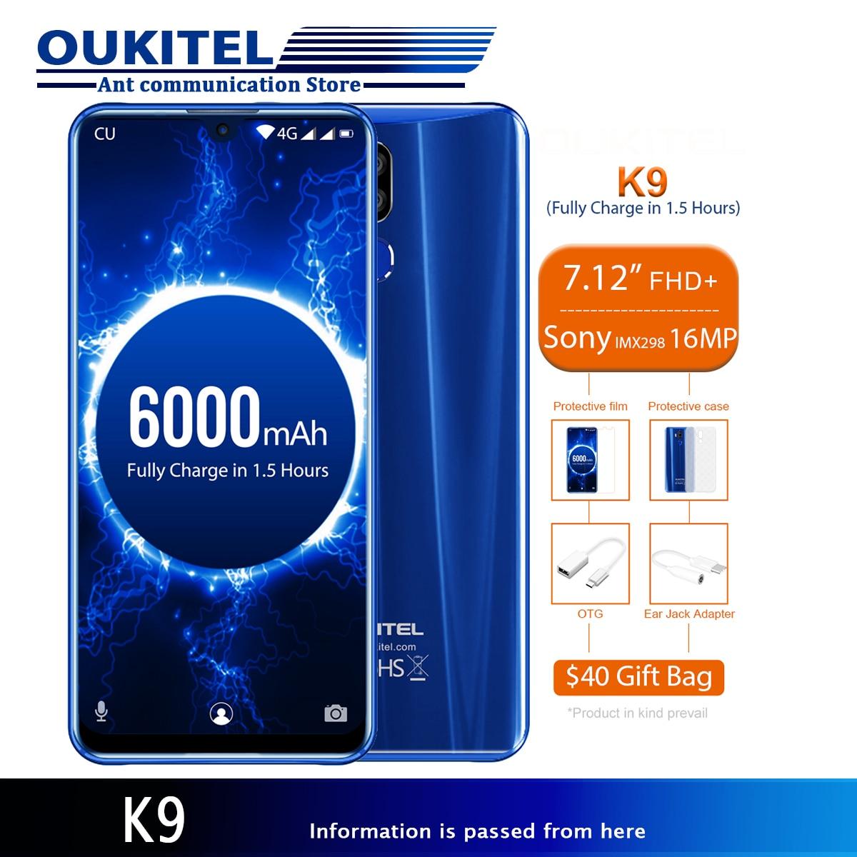 "OUKITEL K9 K 9 7,12 ""Android 9,0 мобильный телефон 4 Гб 64GB6000mAh 5 В/6A мобильный телефон Восьмиядерный OTG Лицо ID 8MP/16MP MT6765 смартфон"