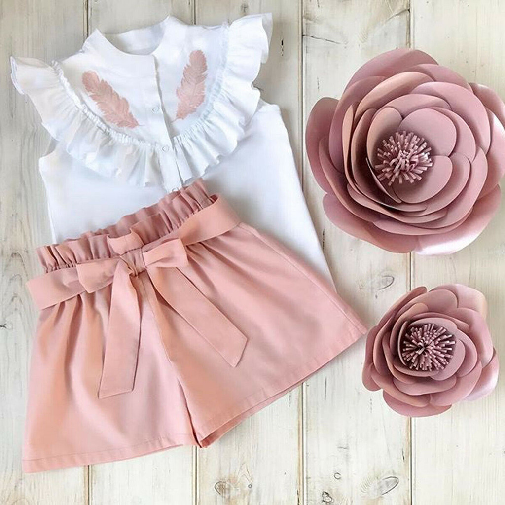 Toddler Kid Baby Girl Clothes Ruffles Tops T-shirt Short Pants 2Pcs Outfit Set