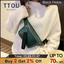 TTOU Women bag crocodile multicolor messenger chest bag female Pu leather handbag crossbody Belt Pouch bag Fanny Pack