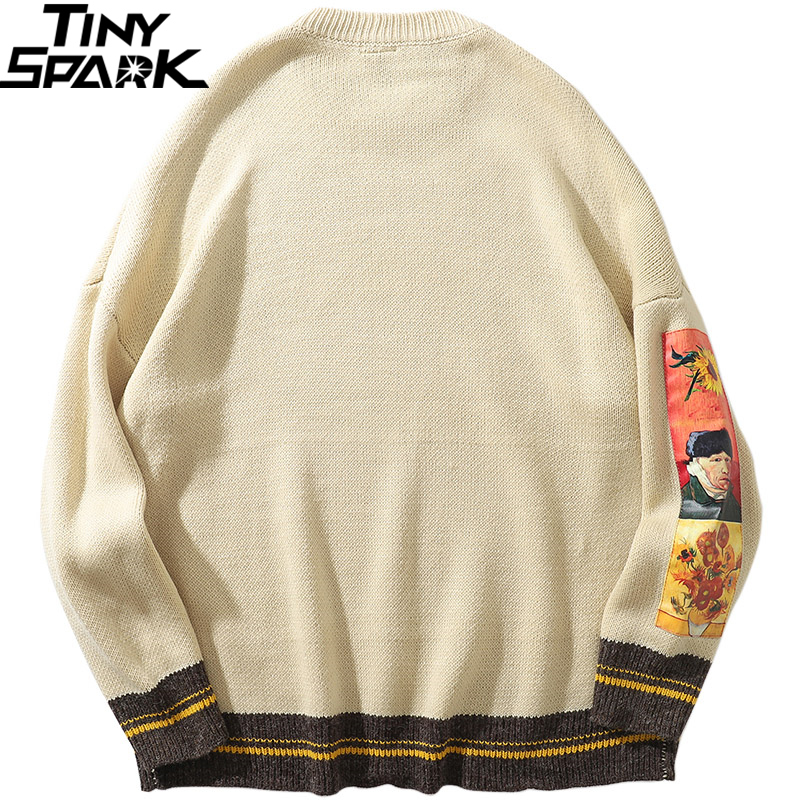Closeout DealsKnitted Sweater Pullover Painting Van Gogh Embroidery Streetwear Retro Vintage Cotton
