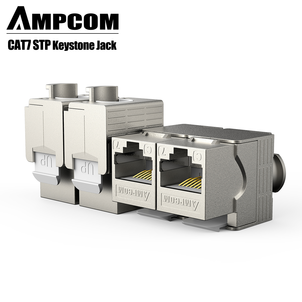 RJ45 CAT 7 Tool-Less STP Shielded Keystone Jack, AMPCOM Self-Locking Cat7 Keystone Zinc Alloy Module Adapter