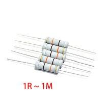 10pcs 5W 5% resistor de Filme de Carbono 1R ~ 1M 2.2R 10R 22R 47R 51R 100R 150R 470R 47 10 1K 4.7K K K 1 2.2 10 22 47 51 100 150 470 ohm