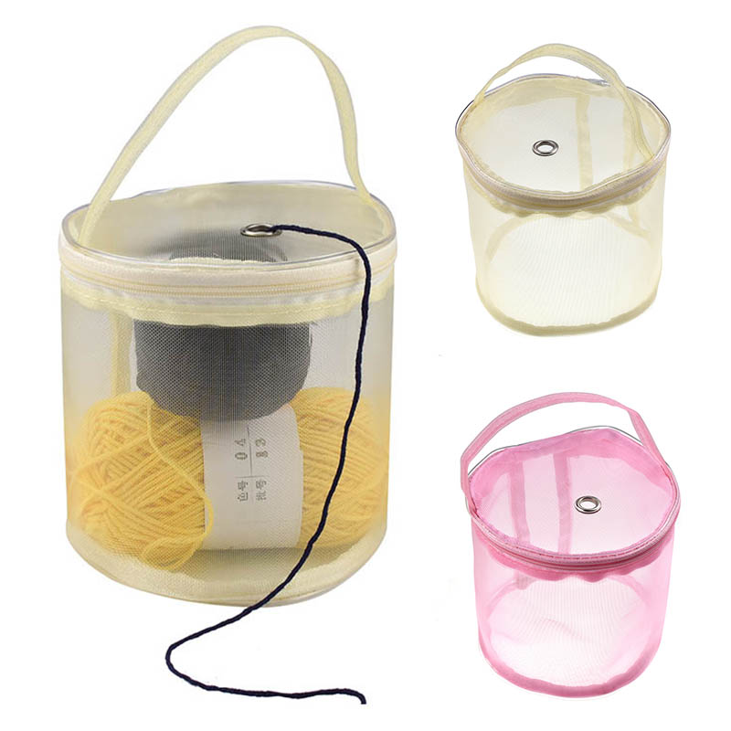 DIY Hand-Knitted Tool Yarn Storage Organizer Sewing Accessories Yarn Mesh Bag Thread Storage Case Zipper Closure 1PC Portable