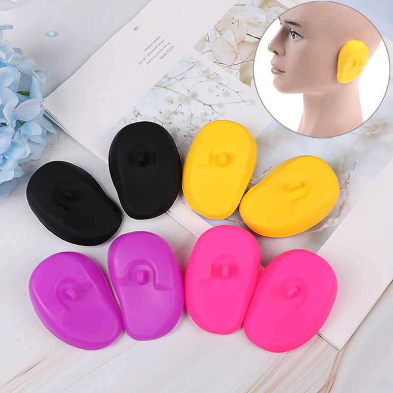 2pcs Silicone Multicolor Universal Clear Ear Cover Hair Dye Shield Protect Salon Color Protect Ears From The Dye