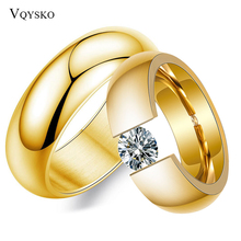 Custom Gold Color Wedding Bands Couple Ring for Women Men Jewelry Christmas Gift Stainless Steel Engagement Rings Anniversary