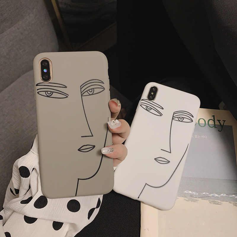 Retro girl simple face Line art Phone case for coque iPhone 7 Plus ...