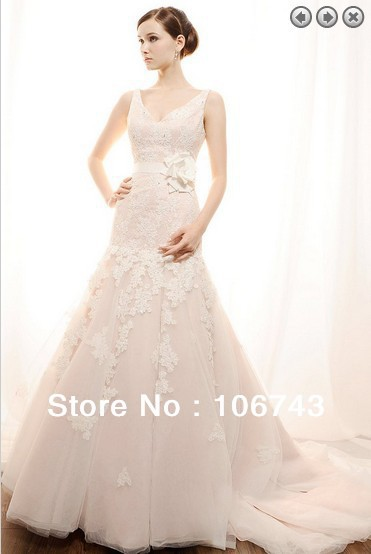 Free Shipping 2016 Vintage Sexy Bridal Gown Christening Gown Long Dress  Plus Size Lace Wedding Dresses With Removable Belt