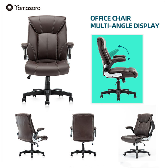 Office Chair Commercial Ergonomic High-Back Bonded Leather Executive Chair with Flip-Up Arms and Lumbar Support pc gaming chair 2