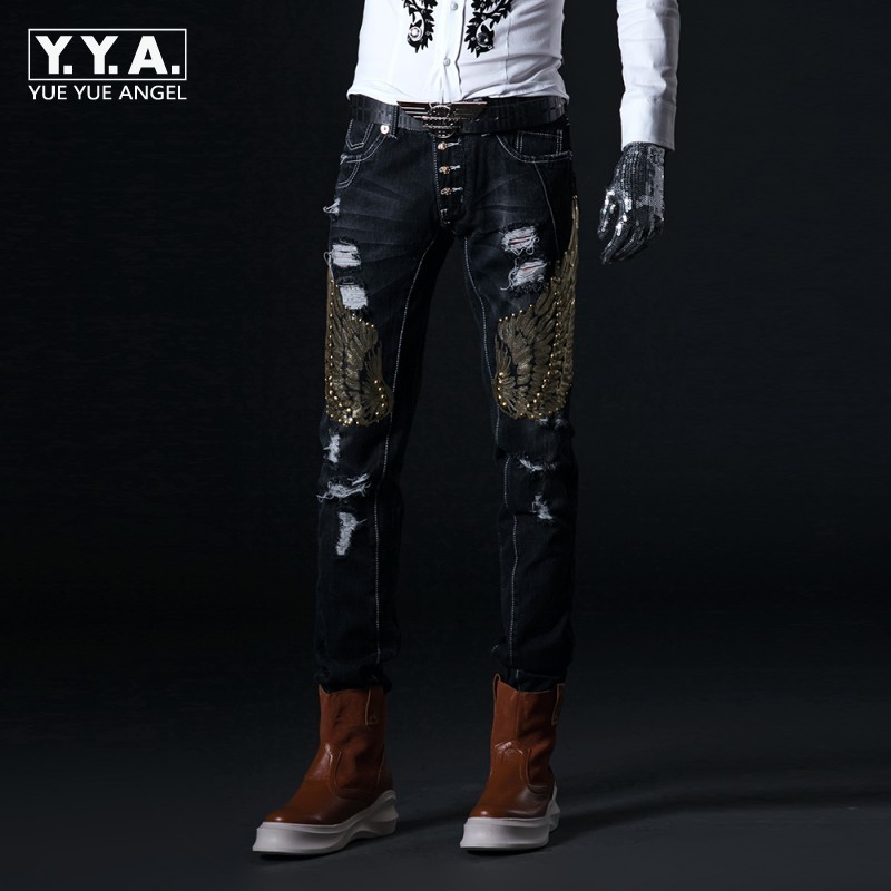 2020 Embroidery Jeans Men Korean Slim Moto Biker Hole Denim Pants Vintage Sequins Stage Male Trousers Middle Skinny Jeans Man