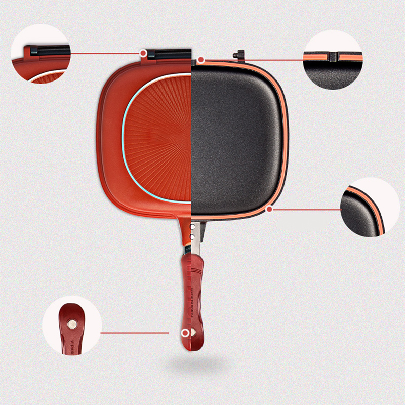 Cast Double Side Foldable Flipping Non-Stick Frying Pan 3