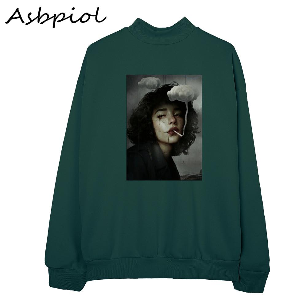 Autumn Winter Loose Harajuku Hoh Xil Printed Sweatshirt Female Hooded Pullover Tops Women Hoodies Casual Female Clothes