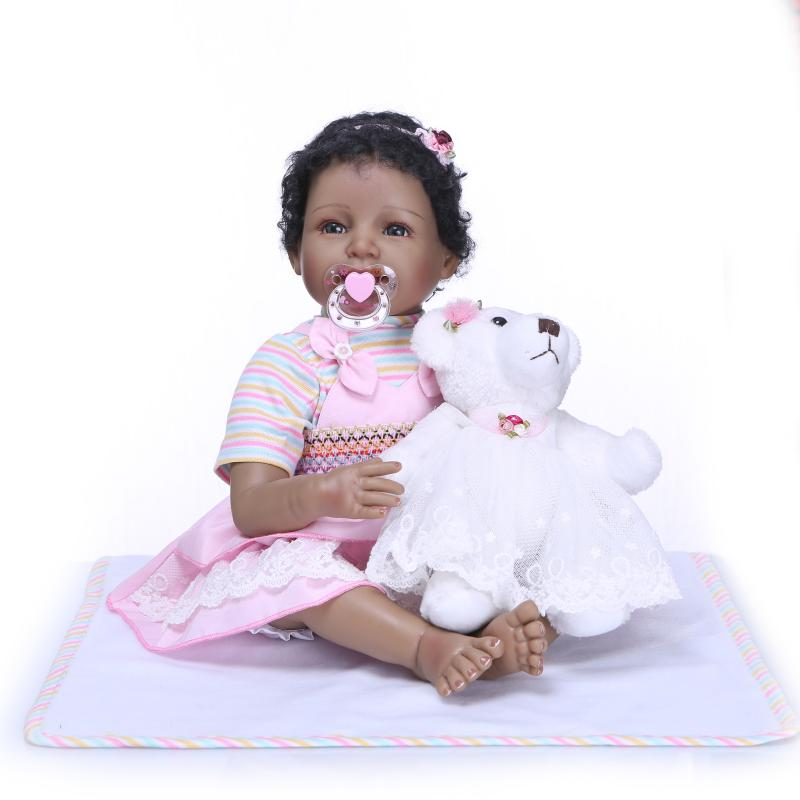 22inch that look real silicone baby doll for sale curls black skin dolls for girl boy toys Birthday and Xmas gift 55cm playmate