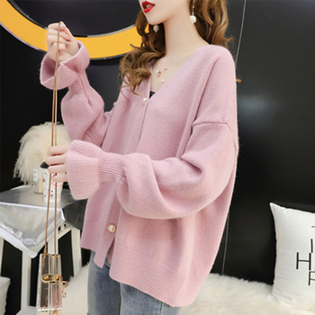 Ailegogo Women Stylish Knitted Cardigan 2019 Autumn Spring Pure Color V Neck Flare Sleeve Button Casual Ladies Sweaters Tops 6