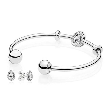 NEW 925 Sterling silver Radiant Teardrop Open Bangle and Earrings Set Clear CZ fit DIY charm Bracelets jewelry A set of prices