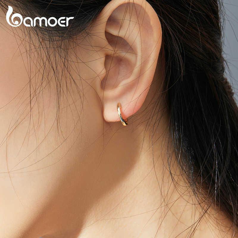 Bamoer minúsculos brincos de argola para mulher cor do ouro 925 prata esterlina pequena orelha aros feminino jóias moda bijoux brincos sce808
