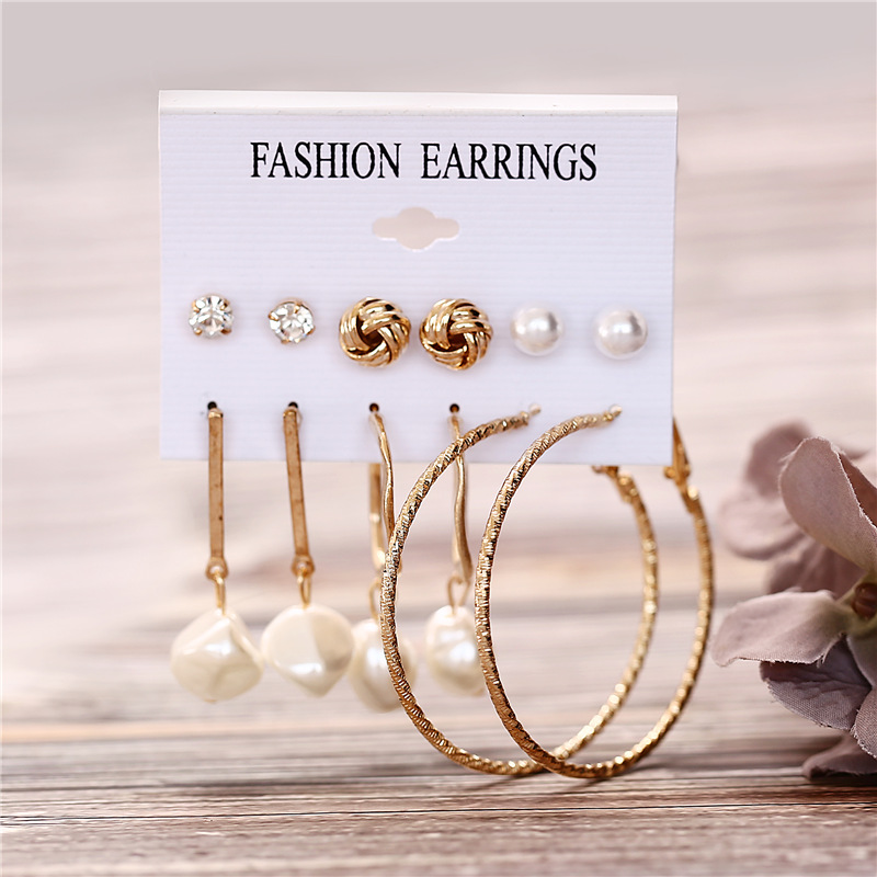 Hc1c432fb9e4242b89c0dc1c17bfc85607 - IF ME Fashion Vintage Gold Pearl Round Circle Drop Earrings Set For Women Girl Large Acrylic Tortoise shell Dangle Ear Jewelry