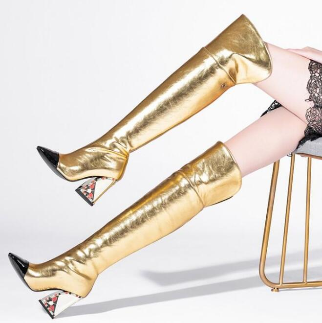 Moraima Snc Runway Thick Heels Long Boots Pointed Toe Gold Leather Over the Knee Boots Sexy Printed Heels Shoes