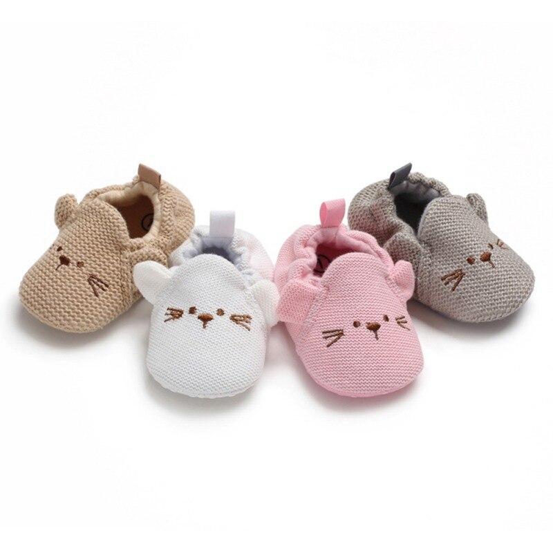 Cute Cartoon Baby Slippers Toddler Baby Boy Girl Knit Crib Shoes Anti-slip Prewalker Baby Slippers
