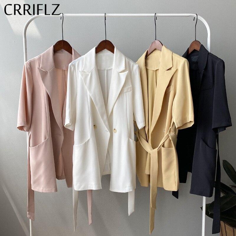 CRRIFLZ 2020 New Summer Thin Half Sleeve Blazer Women Casual Single Button Notched Solid Blazer Coat