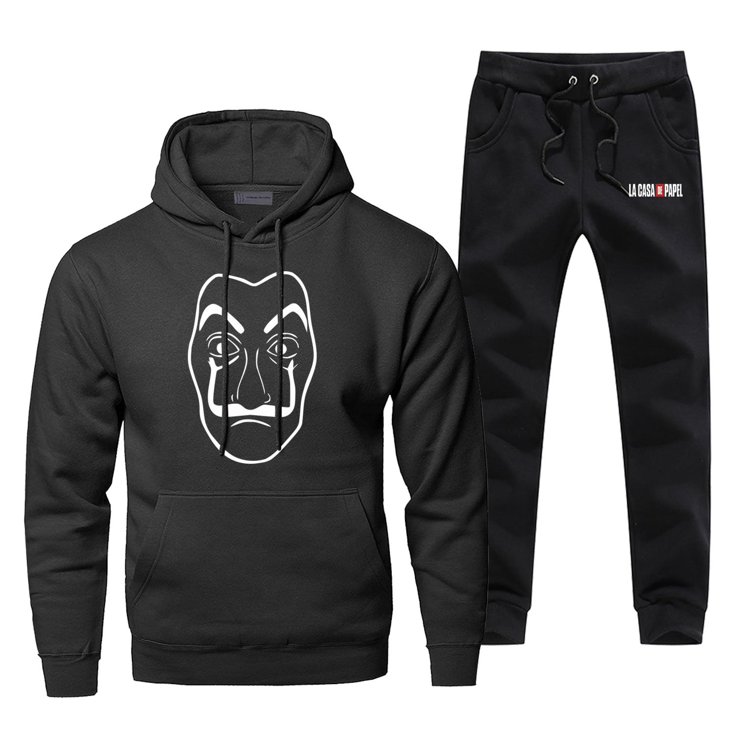 La Casa De Papel Mens Hoodies Sets Two Piece Pant Hoodie Sweatshirt Sweatpants Professor Sergio Marquina Sportswear Sweatshirts