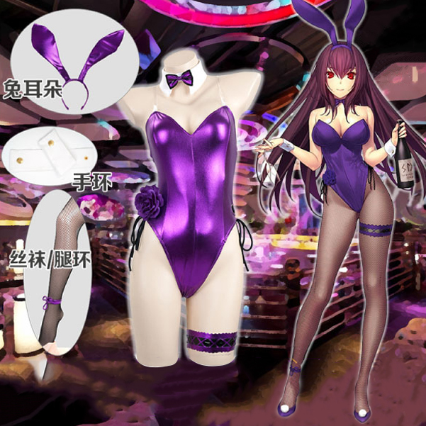 Fate Grand Order Game Cos Fgo Scathach Cosplay Costume Bunny Girl Jumpsuit With Purple Rabbit Hair Band Fishnet Stocking